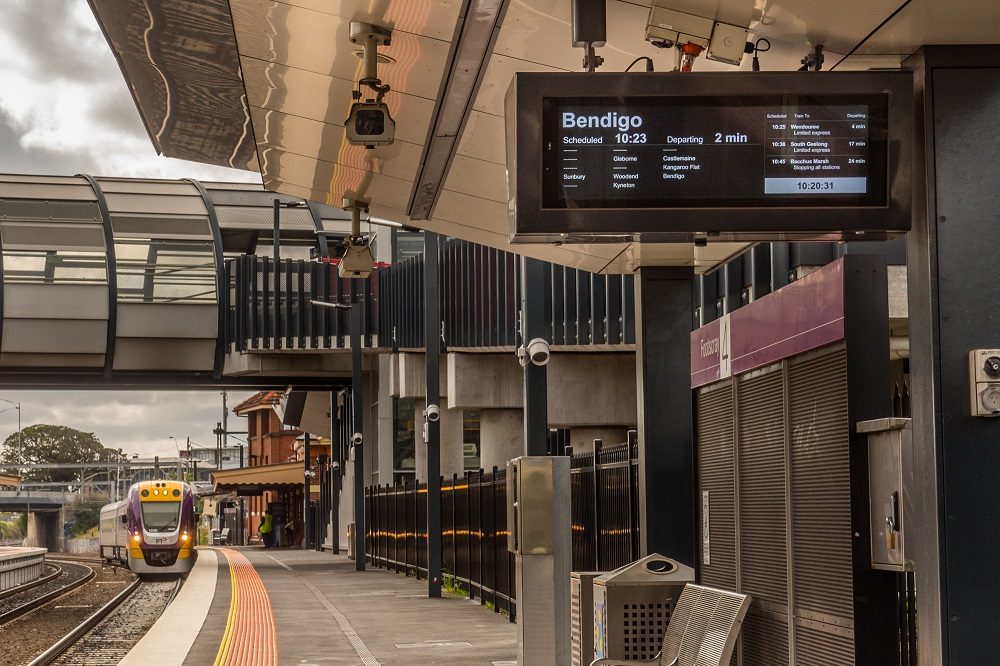 Passenger Information Display at Victorian Train Station