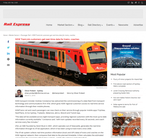 20160304 Rail Express NSW TrainLink customers get real time data for trains and coaches article