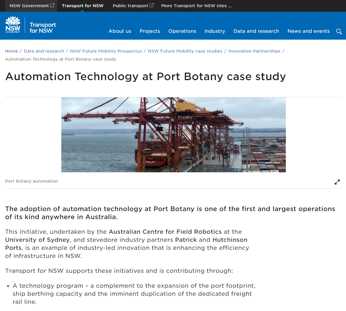 20190812 TfNSW Automation Technology at Port Botany Case Study
