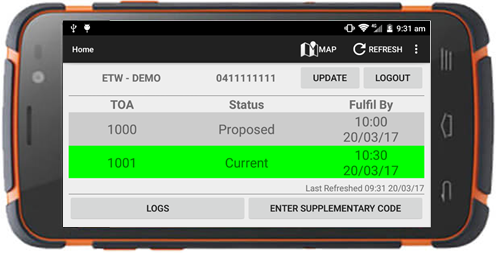 Horrocks App interface for rugged device